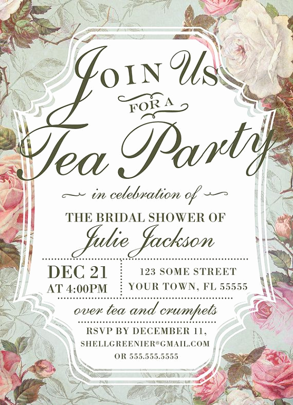 Tea Party Invitation Template Word Awesome Bridal Shower Tea Party Invitation Template Vintage Rose