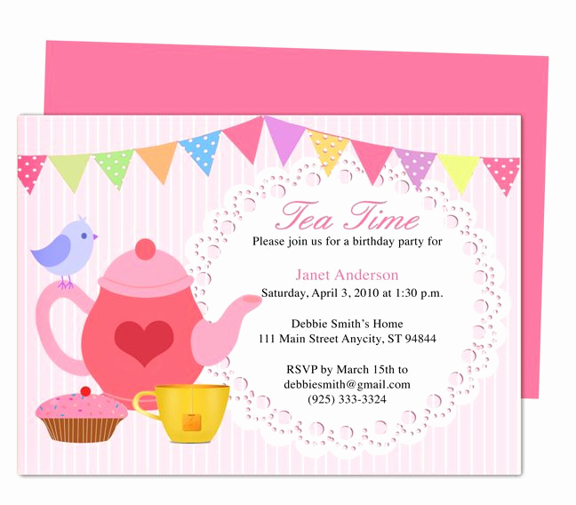Tea Party Invitation Template Word Beautiful afternoon Tea Party Invitation Party Templates Printable