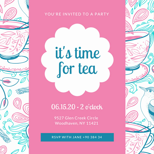 Tea Party Invitation Template Word Beautiful Customize 128 Tea Party Invitation Templates Online Canva