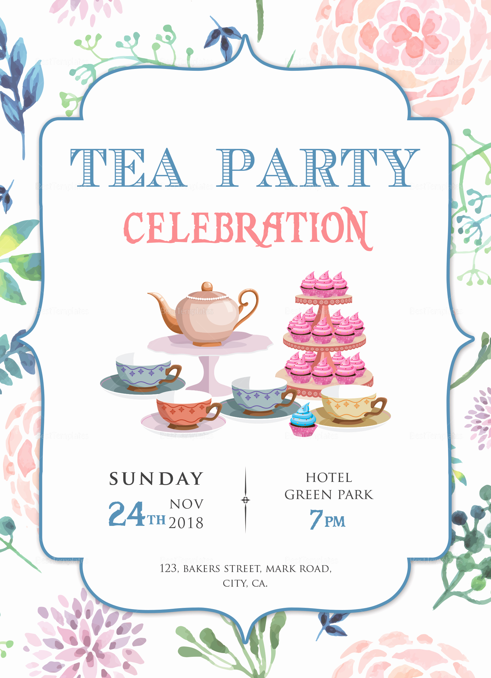 Tea Party Invitation Template Word Beautiful Elegant Tea Party Invitation Design Template In Word Psd