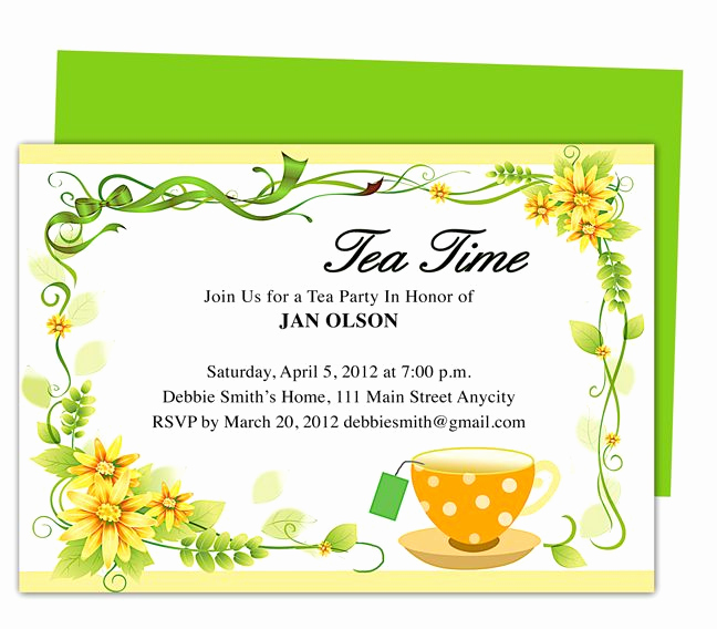 Tea Party Invitation Template Word Beautiful Freshness Tea Party Invitation Party Templates Printable