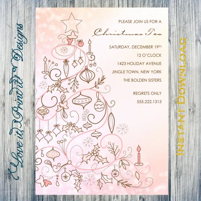 Tea Party Invitation Template Word Beautiful Holiday Invitation Diy Template Christmas Tea Editable