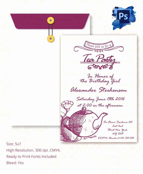 Tea Party Invitation Template Word Beautiful Sample Invitation Template Download Premium and Free