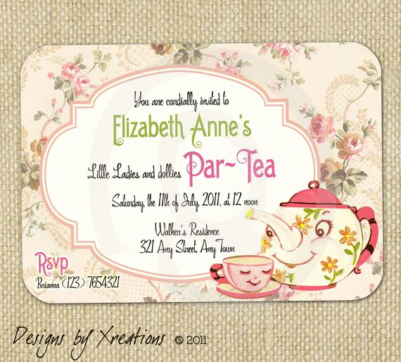 Tea Party Invitation Template Word Best Of Items Similar to Cute Vintage Tea Party Invitation Digital