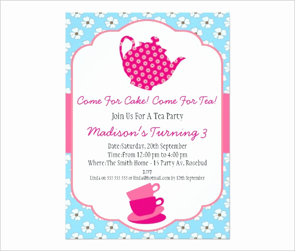 Tea Party Invitation Template Word Elegant 41 Tea Party Invitation Templates Psd Ai
