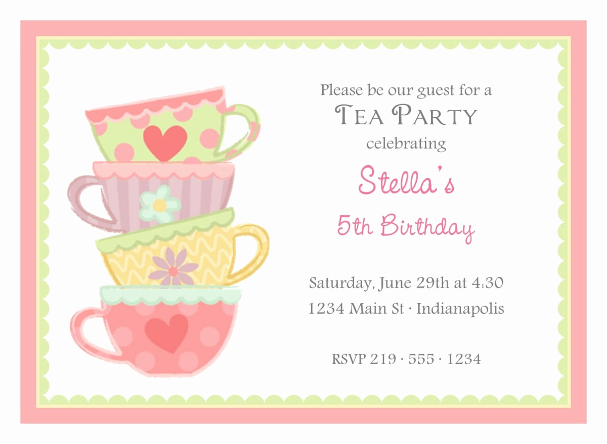 Tea Party Invitation Template Word Elegant Free afternoon Tea Invitation Template