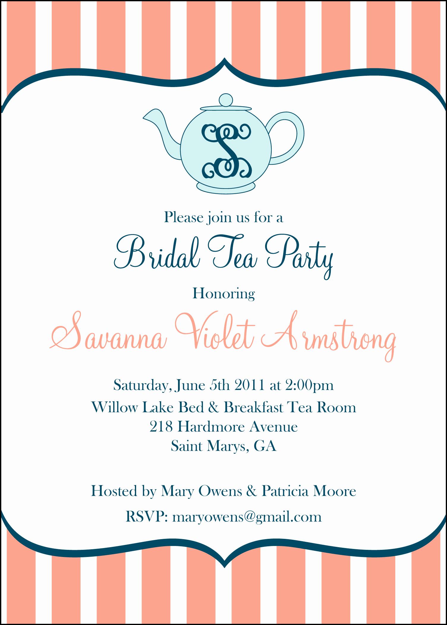 Tea Party Invitation Template Word Elegant Having A Bridal Tea