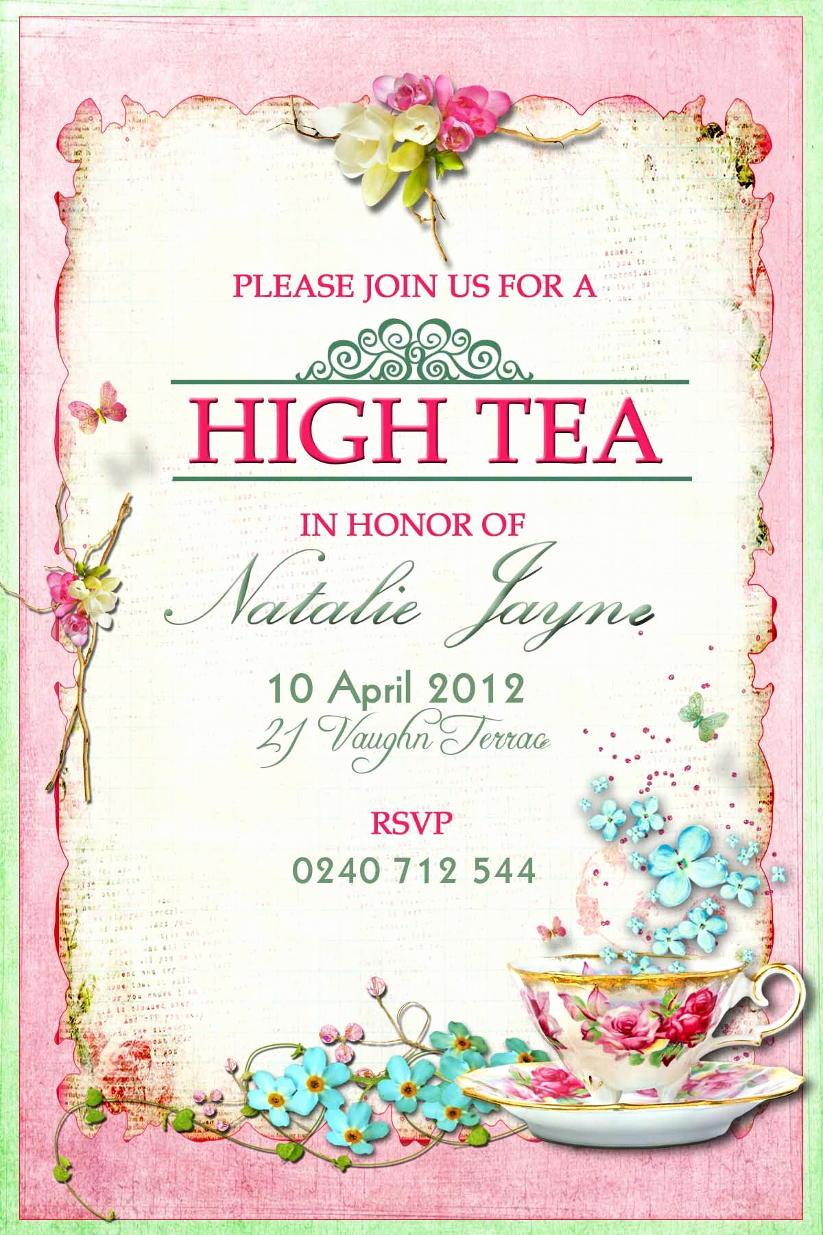 Tea Party Invitation Template Word Elegant Victorian High Tea Party Invitations Surprise Party