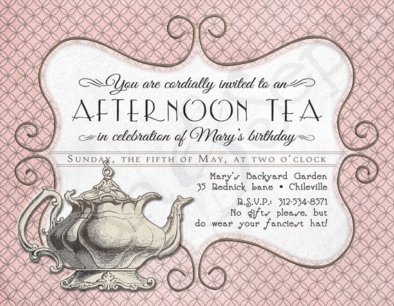 Tea Party Invitation Template Word Lovely Printable Tea Party Birthday Invitation 4 25 X by Cyanandsepia