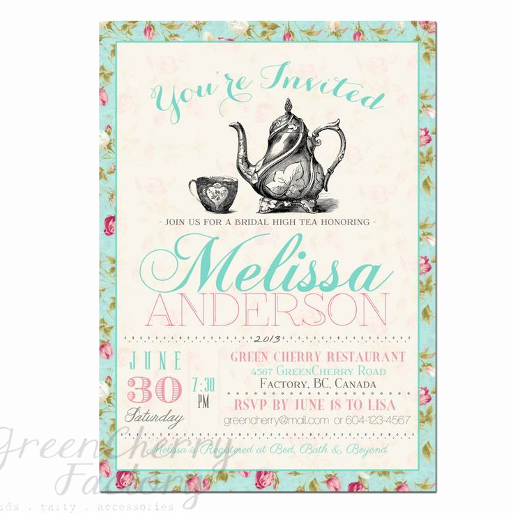 Tea Party Invitation Template Word Lovely Tea Party Invitation Templates to Print