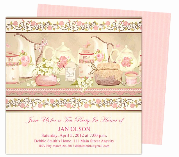 Tea Party Invitation Template Word Lovely Tea Party Teaparty Invitation Party Templates Printable