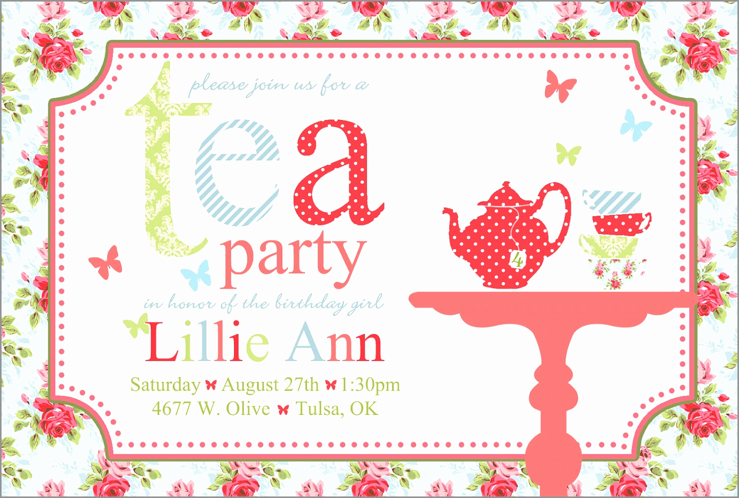 Tea Party Invitation Template Word Lovely Vintage Bridal Shower Tea Party Invitation Template