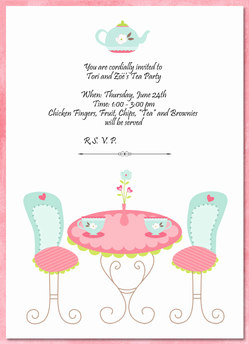 Tea Party Invitation Template Word New Invitation Template Tea Party