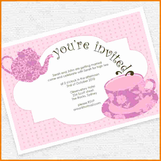 Tea Party Invitation Template Word New Tea Party Invitation Template