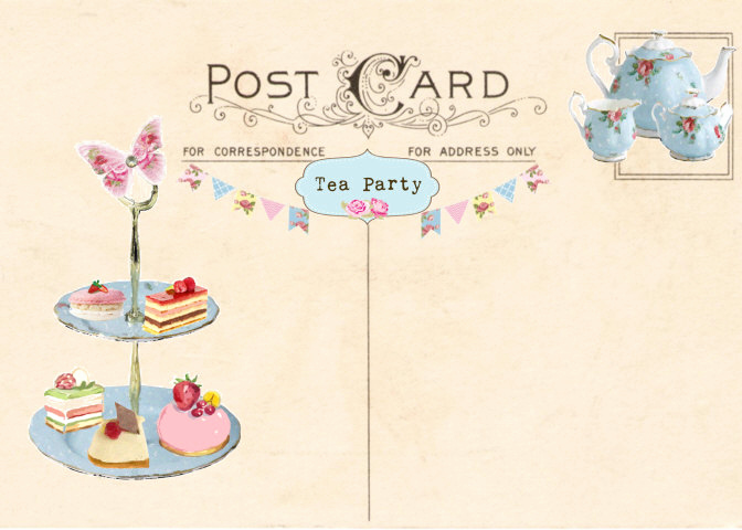 Tea Party Invitation Template Word New Vintage Tea Party Invitation Tea Party Postcard Printable