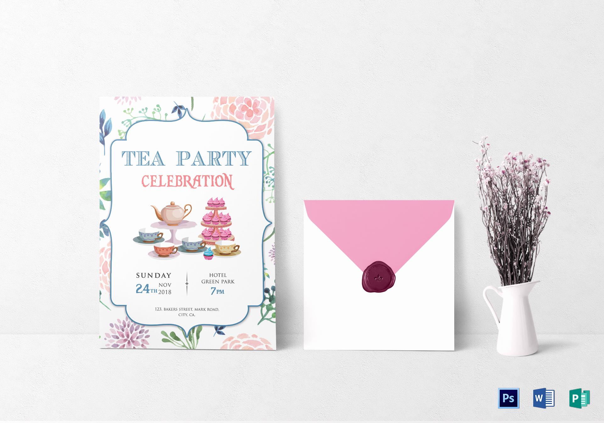Tea Party Invitation Template Word Unique Elegant Tea Party Invitation Design Template In Word Psd