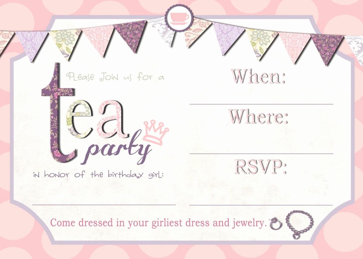 Tea Party Invitation Template Word Unique Free afternoon Tea Invitation Template