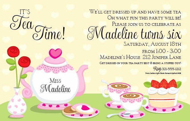 Tea Party Invitation Template Word Unique Tea Party Invitation Template Word