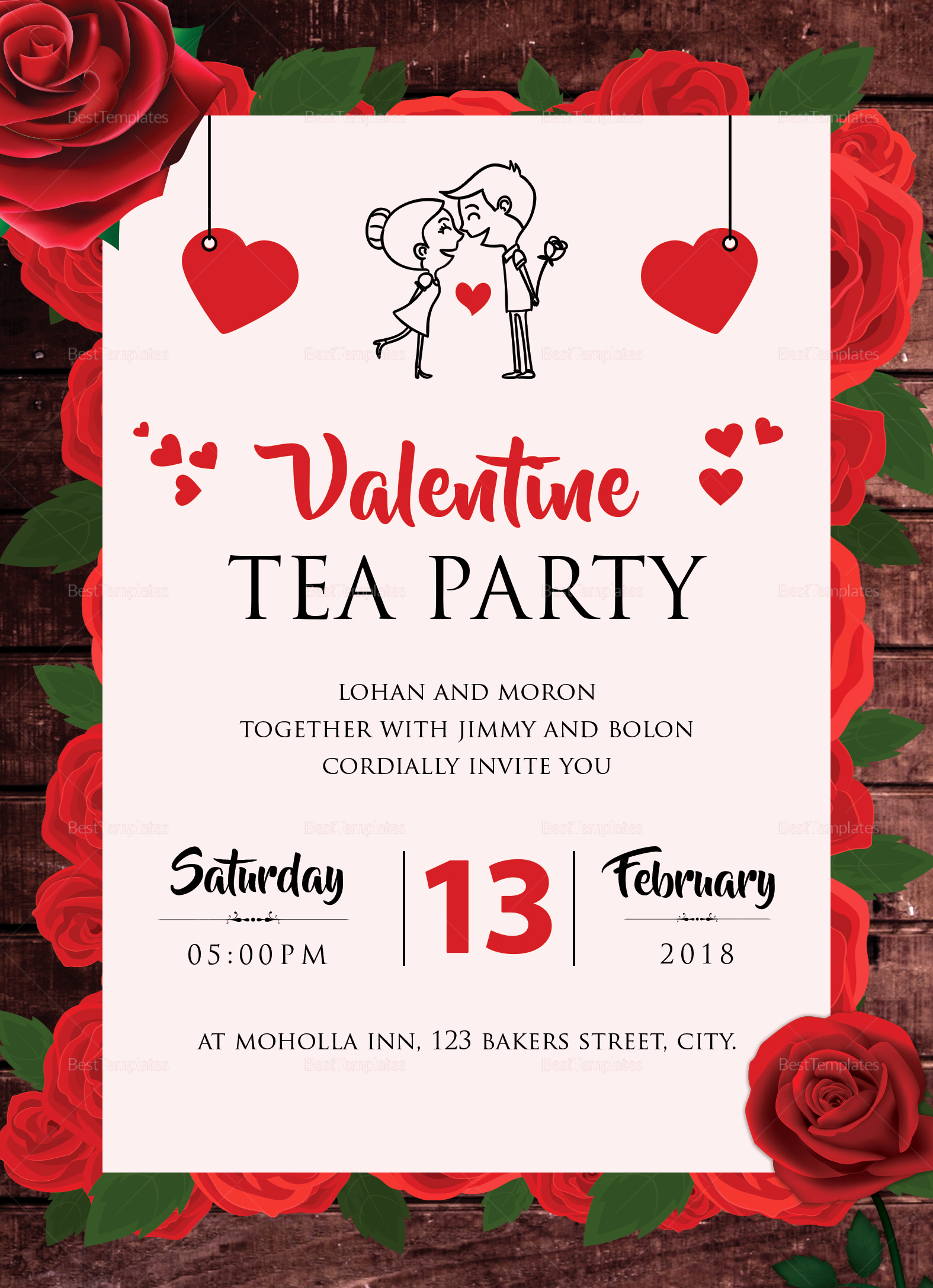 Tea Party Invitation Template Word Unique Valentine Tea Party Invitation Design Template In Word