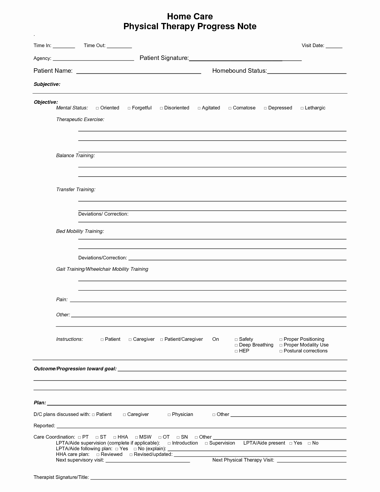 Therapist Progress Note Template Lovely Physical therapy Progress