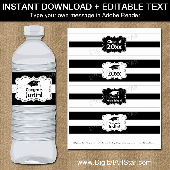 Water Bottle Labels Free Template Best Of Black and White Graduation Water Bottle Label Template High