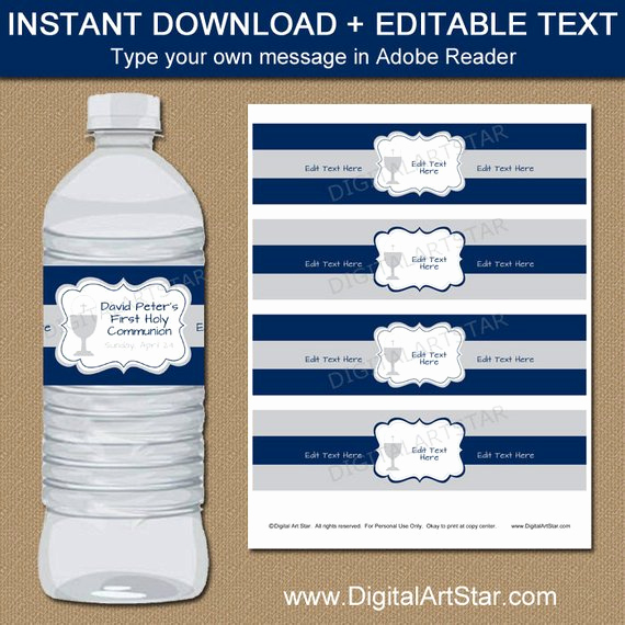 Water Bottle Labels Free Template Inspirational 1st Munion Water Bottle Label Template First Holy