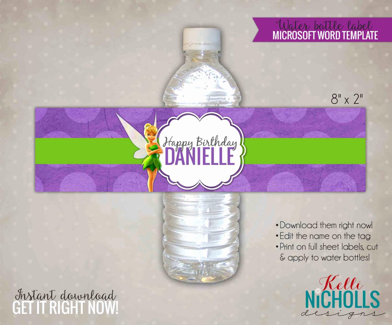 Water Bottle Labels Free Template Luxury Tinkerbell Water Bottle Label Template by Kellinichollsdesigns
