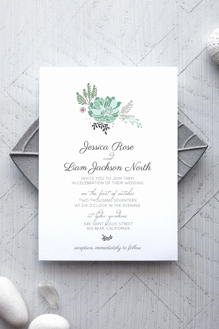 Wedding Invitation Design Templates Elegant Wedding Invitation Templates Succulent Wedding Invitations