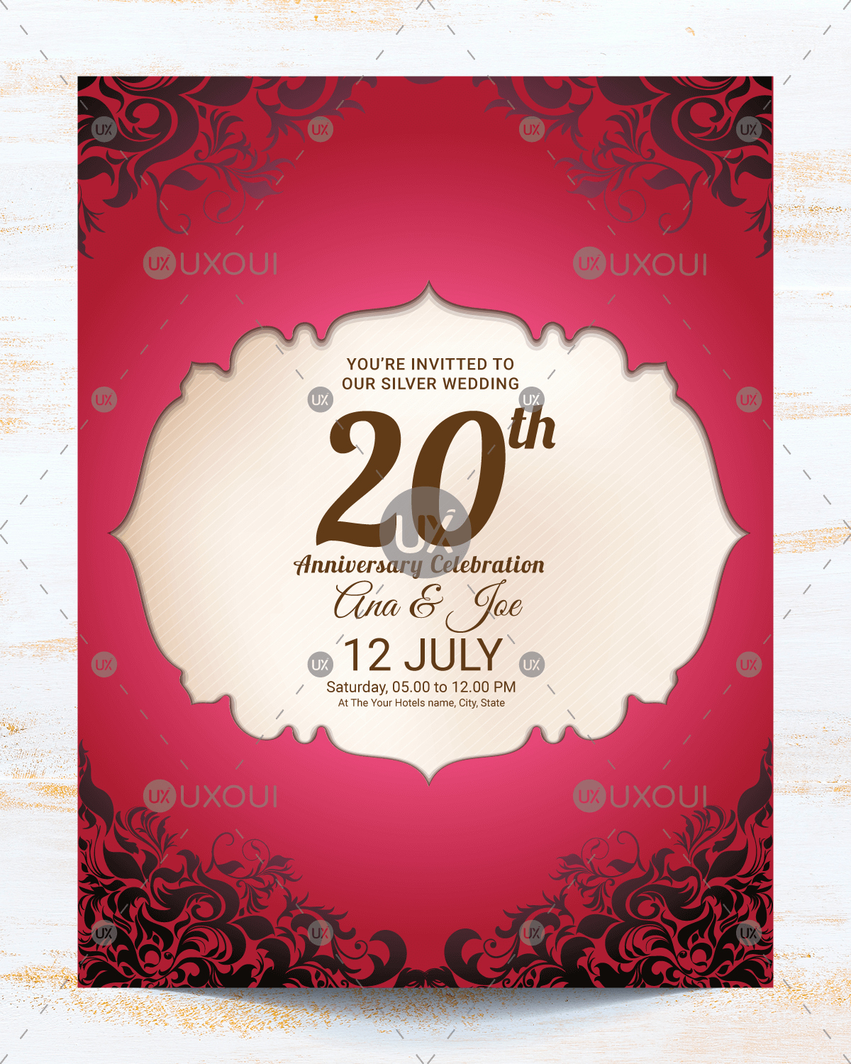 Wedding Invitation Design Templates Fresh Vintage Wedding Anniversary Invitation Card Template