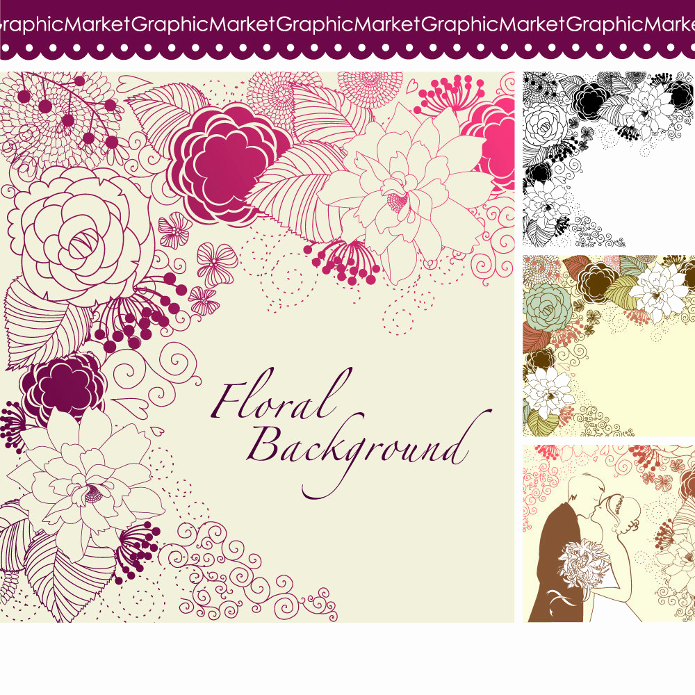 Wedding Invitation Design Templates Unique 4 Floral Template Designs Clipart and Digital Paper for
