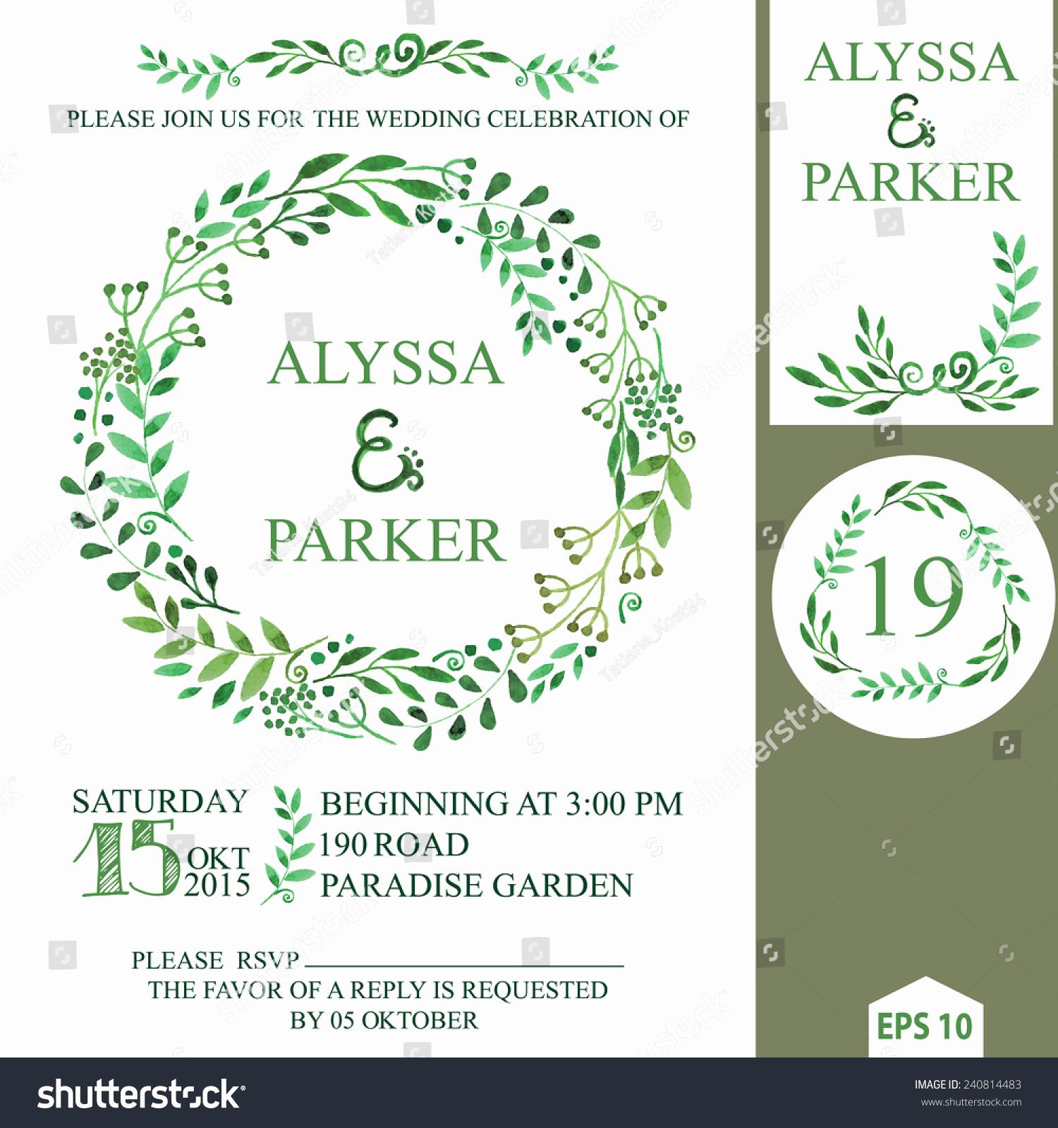 Wedding Invitation Design Templates Unique Retro Wedding Invitation Design Template Watercolor Stock